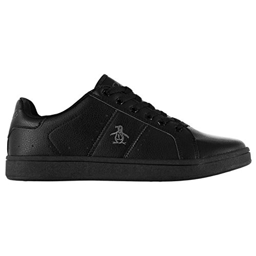 Penguin Mens Steadman Trainers Lace Up Casual Sport Shoes Everyday Footwear Black Mono UK 8 (42) - Original Penguin Trainers