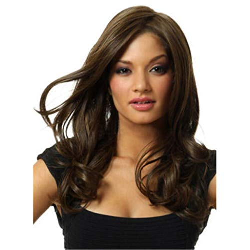 Wig Wig for Women, Looking Realistic Brown Long Wavy Curly Halloween Synthetic Hair Wigs UK Half Hand Tied Heat Resistant Wigs -