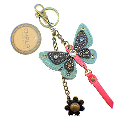 Butterfly Key Fob - Chala Teal Butterfly Key Chain Purse Leather Bag Fob Charm New