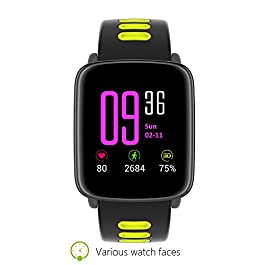 Smart Watch Waterproof Hear Rate Pedometet IP68 Water Resistant for Swimming Sports GV68 Bluetooth Smartwatches for Android and iOS Phones Fitness Watch (Green)