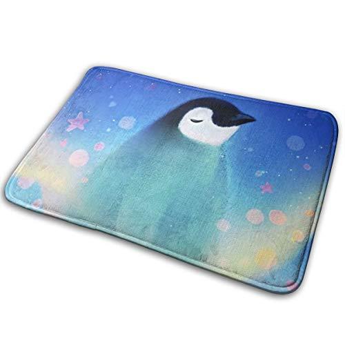 (Jingclor Welcome Doormat, Entrance Floor Mat Rug Indoor Outdoor Front Door Mat with Non-Slip Rubber Backing, Printing Doormats with Fantasy Star Night Penguin, 15.8''WX23.6''L)