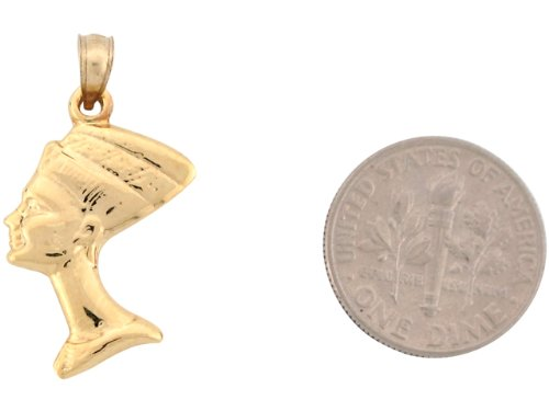 9ct Or Jaune Unique Petit Pendentif Double Face Déesse Egyptienne Néfertiti