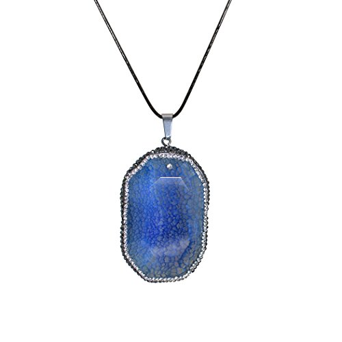 ART KIM Octagon Cube Honeycomb Lattice Zirconia Agate with Rhinetone Edge Pendant Necklaces (Blue)