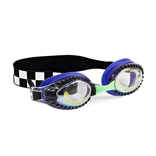 (Bling 2O Kids Swimming Goggles - Blue Race Car Swim Goggles for Boys - Anti Fog, No Leak, Non Slip, UV Protection with Hard Travel Case - 8+)