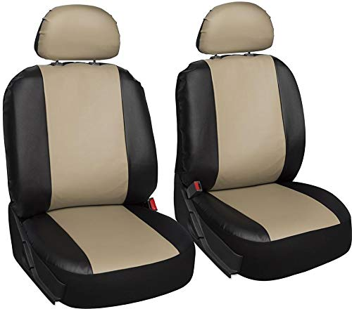 Motorup America Leather Auto Seat Cover 6pc Set Low Back Back Buckets- Fits Select Vehicles Car Truck Van SUV - Beige/Black MUA-SCPU6-BG