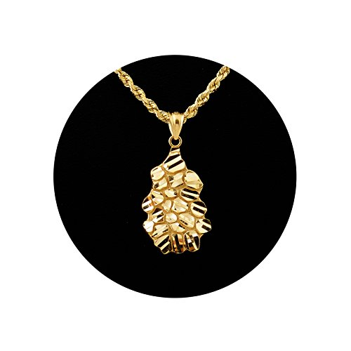 Nugget Chain (LoveBling 10K Yellow Gold Diamond Cut Nugget Charm Pendant (1.25