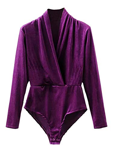 DIDK Women's Velvet V Neck Suplice Long Sleeve Bodysuit Purple M -