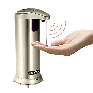 ENROSE Automatic Touchless Soap Dispenser Stainless Steel Motion Detected Easy Refill And Use Soap Dispenser for Kitchen or Bath