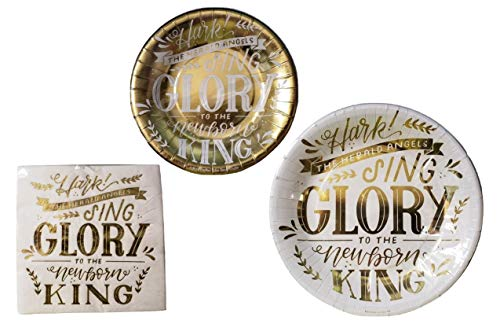"""""""Hark the Herald"""" Gold & White Disposable Paper Plates and Party Napkins Bundle – 3 Items: 20 Dinner Plates, 20 Dessert Plates, 30 Large Napkins"""
