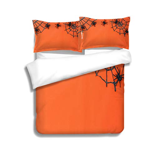 Family bed Overhead of sign Happy Halloween festival background conceptTop of essential object on the modern 3 Piece Bedding Set with Pillow Shams, Queen/Full, Dark Orange White Teal Coral ()