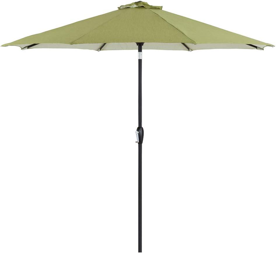 Tempera 9 Ft Patio Umbrella Outdoor Garden Table Umbrella with Push Button Tilt and Crank, 8 Steel Ribs, Grass