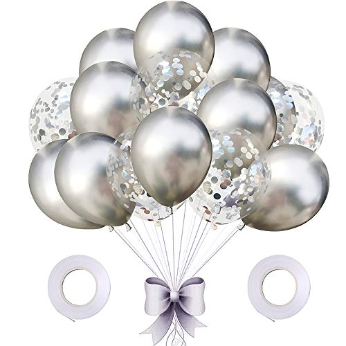 AMAWILL 17pcs Mermaid Balloon Sequin Confetti Balloon 12inches Chrome Metallic Helium Balloons Wedding Birthday Party Decorations Supplies Baby Shower Color Silver]()