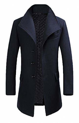 FASHINTY Men's Classical France Style Business Formal Worm Wool Coat #00001F NAVY L by FASHINTY