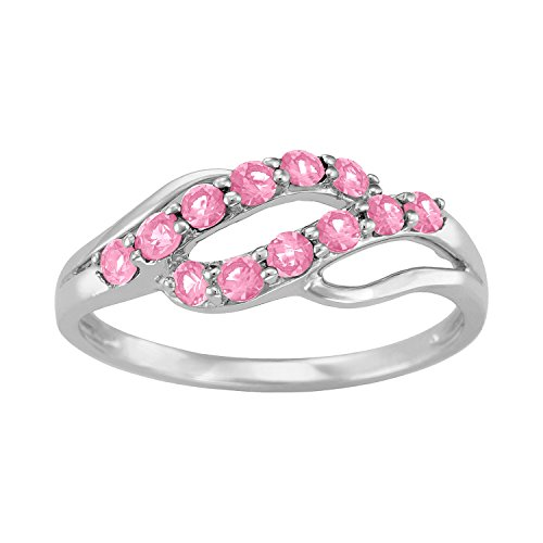 ArtCarved Iridescent Simulated Rose Zircon October Birthstone Ring, 10K White Gold, Size 7