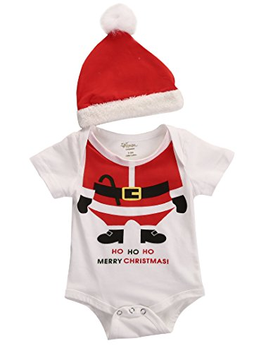 [Christmas Newborn Baby Girl Boy Romper+Santa Hat 2pcs Outfits Set Clothes 0-18M (6-12 Months,] (Cute Santa Outfits)