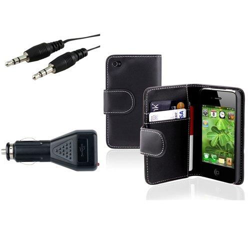 Schwarz Beutel Leder Case Tasche+Audio Kabel+Kfz Ladegerät Für IPHONE 4 4G 4 4S