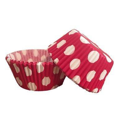 50 PC Red and White Polka Dot Cupcake Wrappers from Bakell