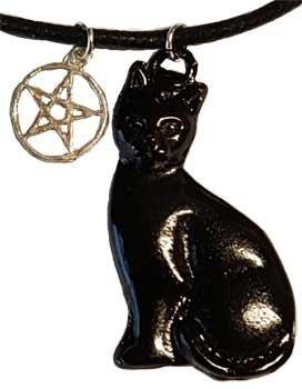Price comparison product image Familiar Black Cat with Five Point Power Pentacle Amulet Necklace