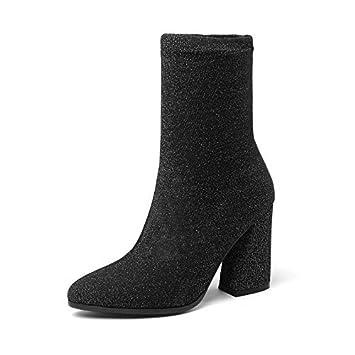 c42f92023067 HOESCZS 2019 Chaussures Femmes Mi-Mollet Bottes Carrés À Talons Hauts  Chaussettes d hiver
