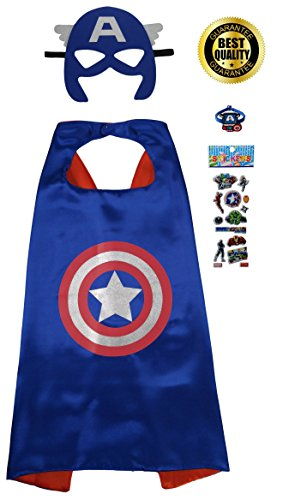 Captain+America Products : Special Captain America 4 Piece Set with Cape, Mask, Superhero Stickers & Bracelet