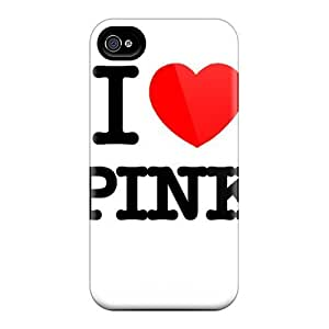 For Iphone 4/4s Tpu Phone Case Cover(i Love Pink)