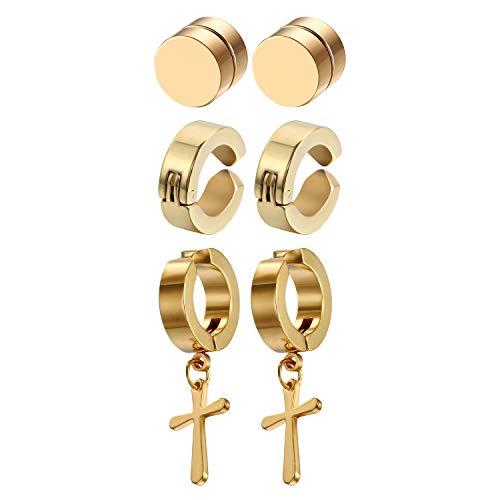 Golden George Stainless Steel Cross Huggie Hinged Hoop Dangle Earrings Gold Clip-on Non-pierced Earrings 3 Pcs Unisex Stud Earrings Set for Women Men Girls Teen, Hypoallergenic