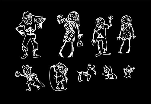 Express Design Group Zombie Family Car Stickers -