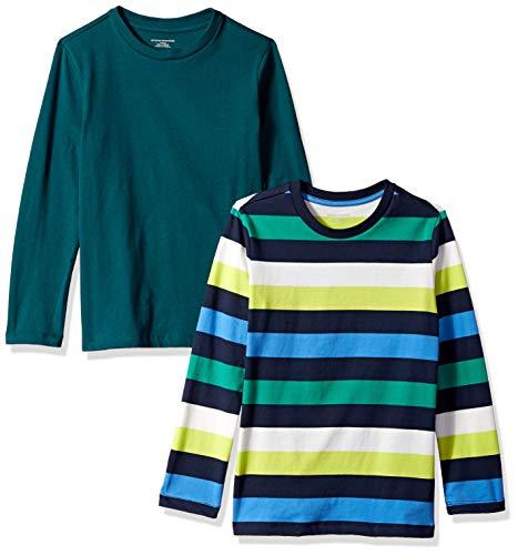 ys' 2-Pack Long-Sleeve Tees, Multi Stripe Navy and Botanical Garden, 2T ()