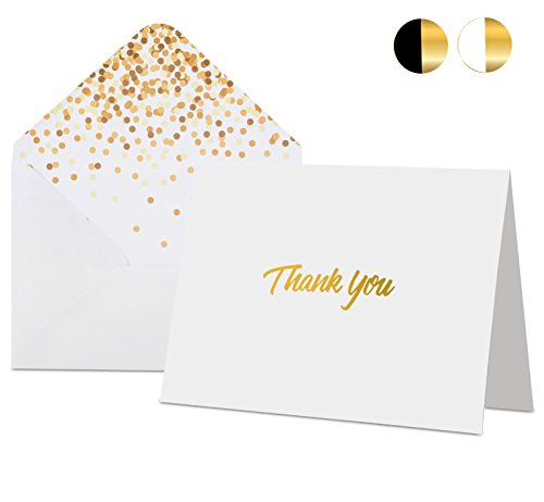 100 Thank You Cards with Envelopes - Thank You Notes, White & Gold Foil - Blank Cards with Envelopes - For Business, Wedding, Graduation, Baby/Bridal Shower, Funeral, Professional Thank You Cards Bulk