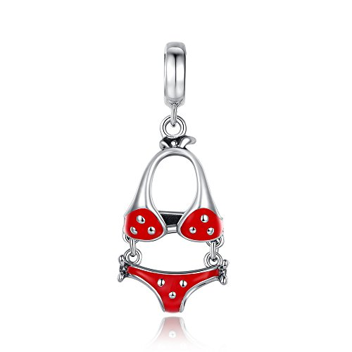 Glamulet Art Women's 925 Sterling Silver Red Crystal Swimming Bikini Dangle Charm Fits Pandora Bracelet