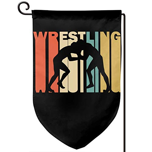 Gd89pL&& Retro Style Wrestling Silhouette Weather Resistant Garden Flag, Outdoor Banner, Two Side (12