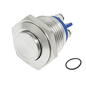 Yueton DC 36V 2A 16mm High Round Cap Waterproof Metal Momentary Push Button Switch High Flush Reactable Screw Terminals