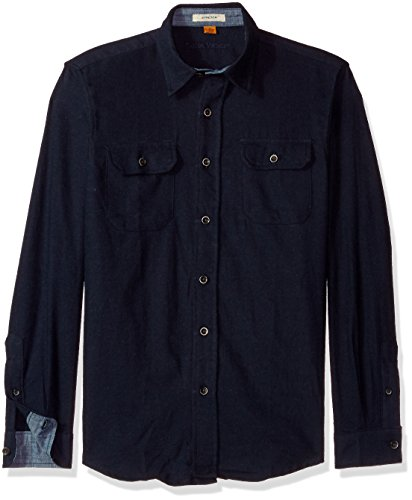 Tailor Vintage Men's Heather Brushed Double Pocket Flannel Shirt, Navy, L