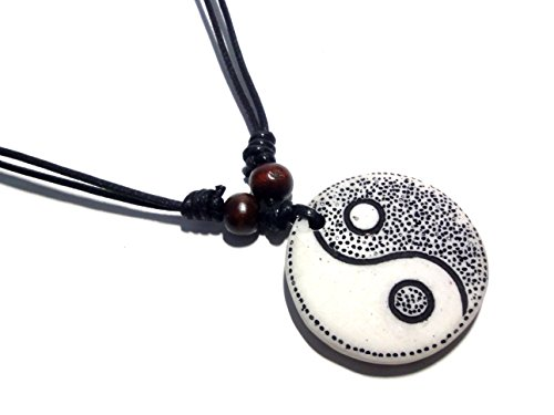 White Yin Yang Pendant Necklace Handmade Necklace Adjustable Black Cord
