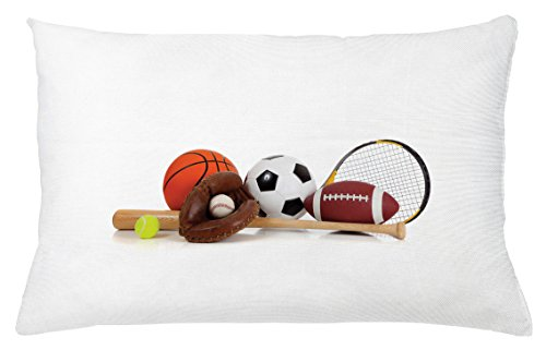 Youth Throw Pillow Cushion Cover By Ambesonne  Assorted Sports Equipment Different Balls Bat Tennis Racket Baseball Glove On White  Decorative Square Accent Pillow Case  26 X 16 Inches  Multicolor