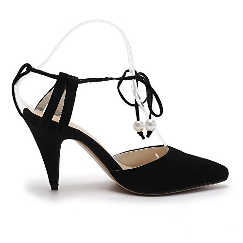 AmoonyFashion Womens Imitated Suede Solid Lace-up Pointed-Toe Kitten-Heels Sandals White rfWCK