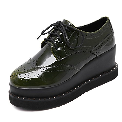 Platform Shoes Toe For Lace Thick Round Mid Sole Fashion Heel Women Oxford Green CYBLING Up 7nPagXqwn