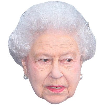 HRH The Queen Celebrity Mask, Cardboard Face and Fancy Dress Mask (Celebrity Face Masks)