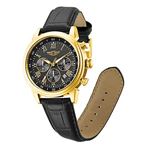 Invicta Men's I by Invicta Collection Gold Tone Stainless Steel Quartz and Black Leather Band Watch, Black (Model: 90242-003)