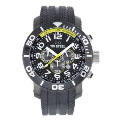 TW Steel Men's ' Grandeur Quartz Stainless Steel and Leather Casual Watch, Color:Black (Model: TW75