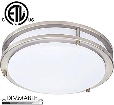 Sunnyfair LED Flush Mount Ceiling Light Bronze 16 Inch 25W 1750lm Soft White 3000K Dimmable for Living Room Bedroom Office, ETL Listed