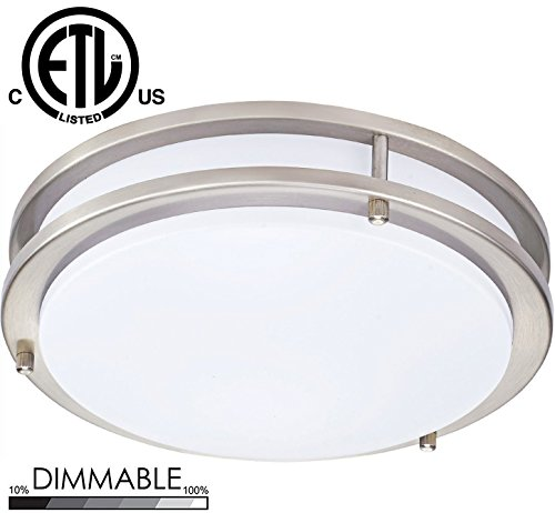 Sunnyfair LED Flush Mount Ceiling Light ,Brushed Nickel ,16 Inch 25W(160W equivalent), 2270lm,3000K(Soft White Glow) for Bedroom, Restroom, Walk In Closet, Washroom, Living Room, (Brushed Nickel Short Ceiling Light)