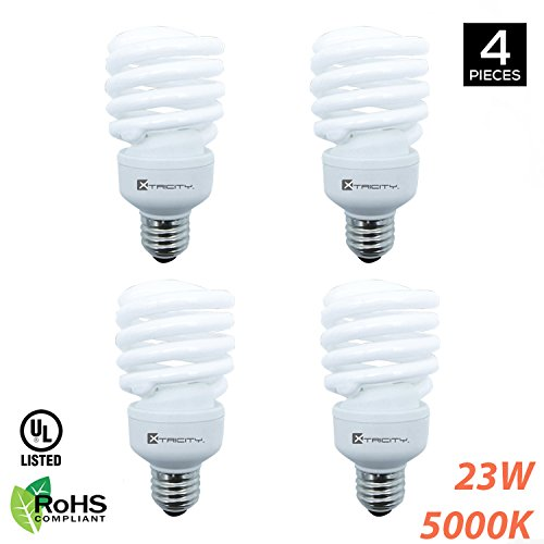 Compact Fluorescent Light Bulb T2 Spiral CFL, 5000K Daylight, 23W (100 Watt Equivalent), 1600 Lumens, E26 Medium Base, 120V, RoHS Compliant and UL Listed (Pack of - 23w Spiral
