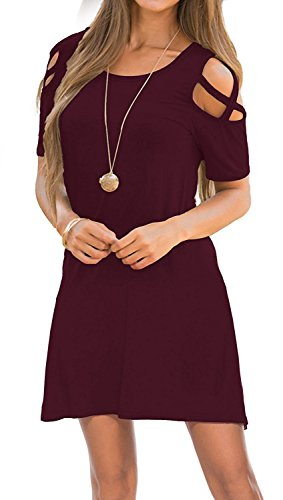 Shoulder Round Neck Loose Tunic Casual T Shirt Dress Burgundy M ()