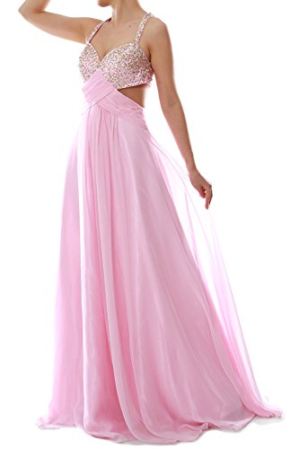 MACloth Women's Strap Long Chiffon Crisscross Back Formal Gown Prom Party Dress Rosa