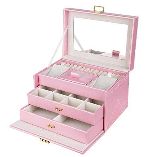 SONGMICS Girls Jewelry Box Embossed Storage Case Rose Organizer Mirrored Jewelry Holder, Gift for Mom, Pink UJBC116 -