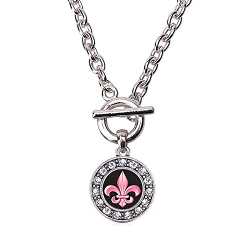 Inspired Silver - Fleur De Lis Toggle Charm Necklace for Women - Silver Circle Charm 18 Inch Necklace with Cubic Zirconia Jewelry ()