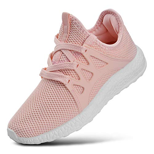 KIKOSOCKS Girls Sneakers Lightweight Breathable Shoes Kids Cute Casual Running Shoes Pink 13 M US -