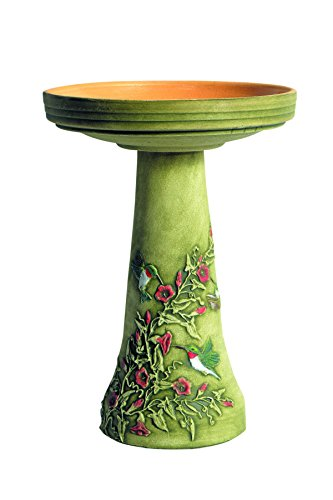 (Burley Clay Hummingbird Bird Bath Set)