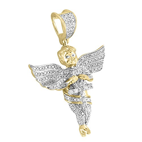 Custom Guardian Angel Design Pendant 10k Yellow Gold Genuine Diamonds Hip Hop Cherub by Master Of Bling